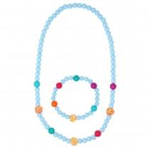 Pink Poppy Sparkling Beads Necklace & Bracelet Set - Blue