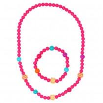 Pink Poppy Sparkling Beads Necklace & Bracelet Set - Pink
