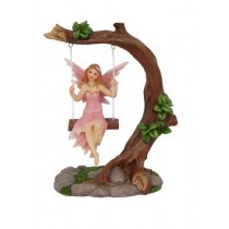 14cm Fairy on Tree on Swing - Pink