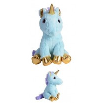 29cm Golden Plush Unicorn - Blue