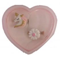 2pc Ring Gift Box - Unicorn head and Flower