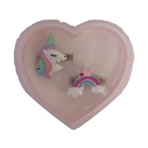 2pc Ring Gift Box - Unicorn Head and Rainbow