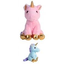 29cm Golden Plush Unicorn - Pink