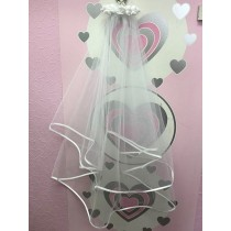 Ribbon Veil with Floral Comb - Ivory