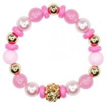 *Pink Poppy Vintage Candy Bead Bracelet - Pink