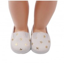 """18"""" Doll Shoes - White & Gold Star Slip On Sneakers"""