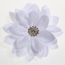 Lottus Chiffon Flower Hairclip - White