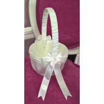 Flowergirl Basket - Bow and Pearl -  Ivory