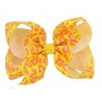 Leopard Print Bow Hair Clip - Yellow