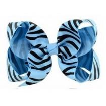 Zebra Print Bow Hair Clip - Blue