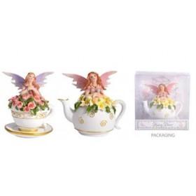 12cm Fairy Figurine - Tea Cup & Tea Pot - RRP: $19.99