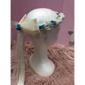 Flower Garland - Aqua with Ivory