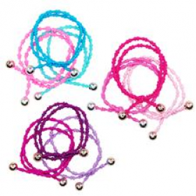 Pink Poppy Beaded Hair Elastics Trio