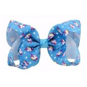 Printed Bow Hair Clip - Blue Unicorn
