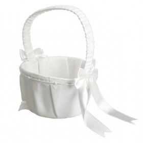 Flowergirl Basket - Bow and Pearl -  White