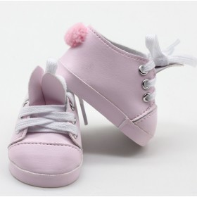 """18"""" Doll Shoes - Pink Bunny Sneakers"""