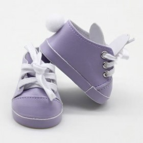 """18"""" Doll Shoes - Purple Bunny Sneakers"""