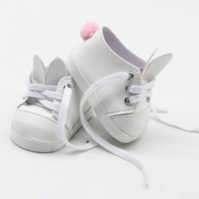 """18"""" Doll Shoes - White Bunny Sneakers"""