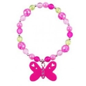 Butterfly Frosted Bead Bracelet - Hot Pink