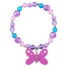 Butterfly Frosted Bead Bracelet - Purple