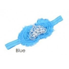 Crown Rosette Headband - Blue