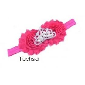 Crown Rosette Headband - Fuchsia