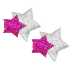 Pink Poppy Glitter Star Hair Clips - Hot Pink (2pc)