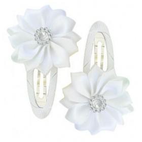 Gem Flower Hair Clips (2pc) - White