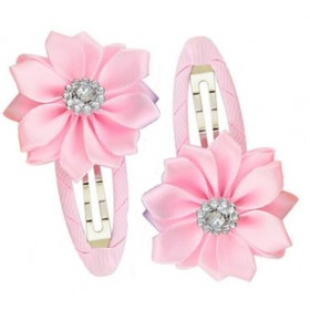 Gem Flower Hair Clips (2pc) - Light Pink