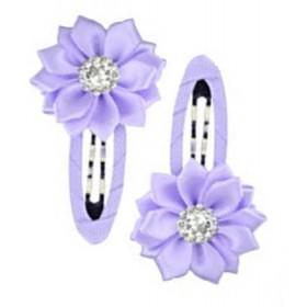 Gem Flower Hair Clips (2pc) - Lilac
