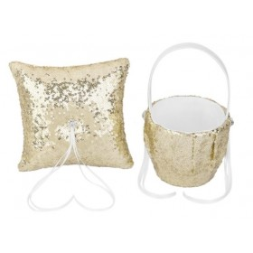 Flower Basket/Ring Pillow - Sequin - Gold