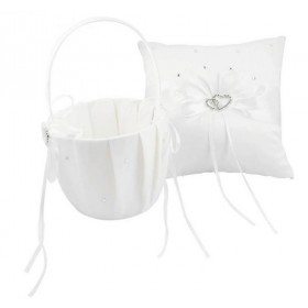 Flower Basket/Pillow - Hearts - White