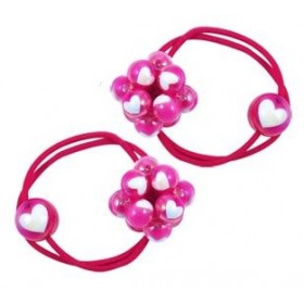 Pink Poppy Bobble Hair Ties - Hot Pink