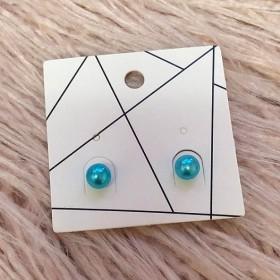 Pierced Earrings - Matte Blue Balls
