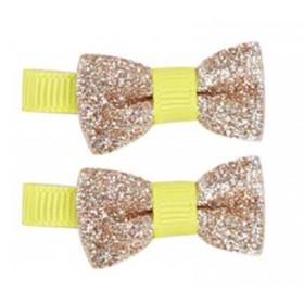Pink Poppy Fluro Mini Bow Hair Clip - Gold Sparkles