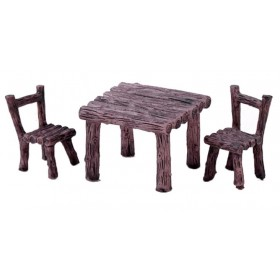 Miniatures 'Wooden' 3pc Table & Chairs Set