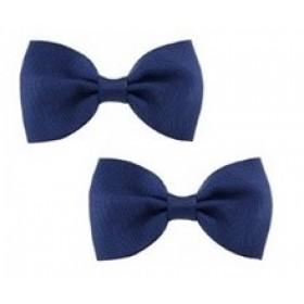 Bow Hair Clips - (2pc) -  Navy Blue