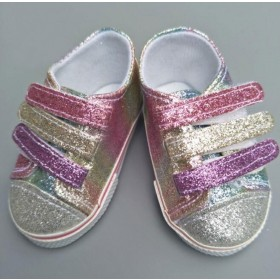"18"" Doll Shoes - Rainbow Sneakers"
