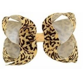 Leopard Print Bow Hair Clip - Orange