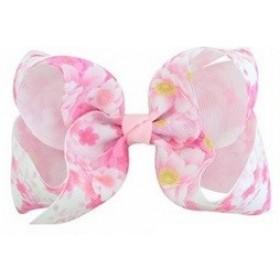 Floral Print Bow Hair Clip - Pale Pink