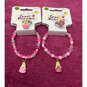 Pink Princess Ball Gown Bracelet & Ring Set
