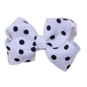 Mini Polkadot Bow Hair Clips - White