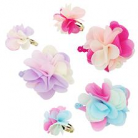 Pink Poppy Carnation Petals Hair Clip & Ring Set