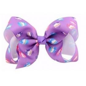 Printed Bow Hair Clip - Purple Cake