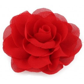Chiffon Rose - Hair Clips - Red