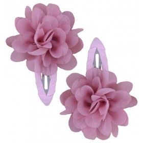 Ruffle Hair Clips (2pc) - Dusty Rose