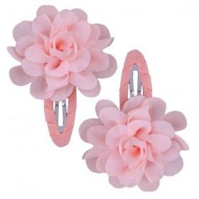 Ruffle Hair Clips (2pc) - Peach/Blush