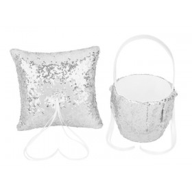 Flower Basket/Ring Pillow - Sequin - Silver