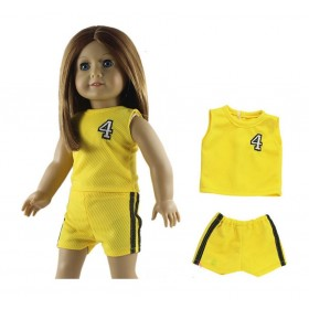"18"" Dolls Sports Outfit - Yellow"