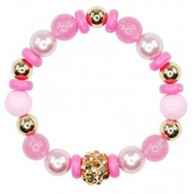 Pink Poppy Vintage Candy Bead Bracelet - Pink